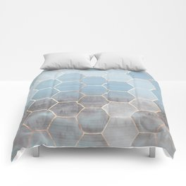 honeycomb winter forest // copper & blue Comforters