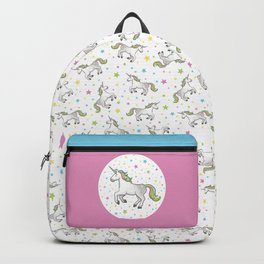 Unicorns and Stars - White and Rainbow scatter pattern Backpack