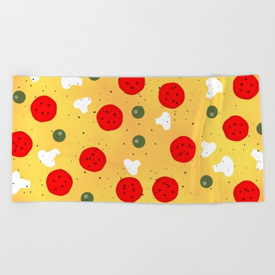 Cool and fun vector pizza Beach Towel