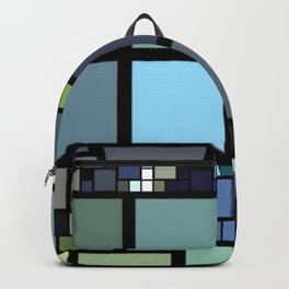 Analogous Color Block/Tile Art (muted shades of green, blue, slate blue, and grays) Backpack
