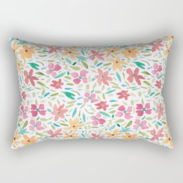 Clementine and Coral Watercolor Floral Light Rectangular Pillow