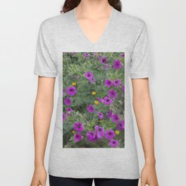 Wild Flowers in Purple and Yellow Unisex V-Neck