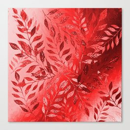 Monochrome  Leaf Arrangement (Red) Canvas Print