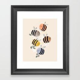 Sweet little baby bees watercolor illustration Framed Art Print