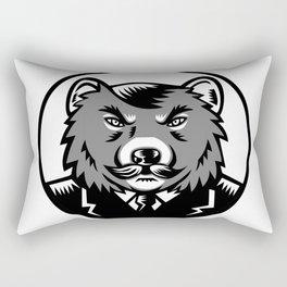 Tasmanian Devil Wearing Business Suit Woodcut Rectangular Pillow