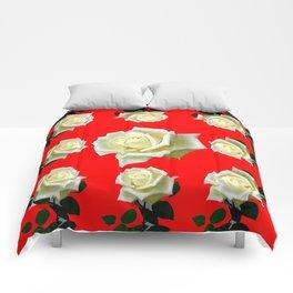 WHITE ROSES RED GARDEN DESIGN Comforters