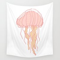 jellyfish Wall Tapestries featuring Jellyfish by Doucette Designs