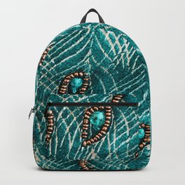 Peacock Feathers in Chic Emerald Green Diamonds Backpack