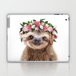 Baby Sloth With Flower Crown, Baby Animals Art Print By Synplus Laptop & iPad Skin