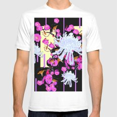 Modern Art White Spider Mums Pink Flowers Black White Mens Fitted Tee MEDIUM