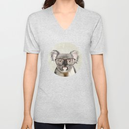 A baby koala with glasses on a rustic background Unisex V-Neck