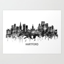 Hartford Connecticut Skyline BW Art Print