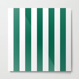 Bottle green - solid color - white vertical lines pattern Metal Print