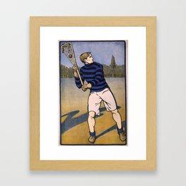 Vintage Illustration of a Lacrosse Player (1905) Framed Art Print