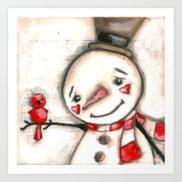 Red  Bird and Snowman - Christmas Holiday Art Art Print