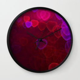Pink, purple, red hearts fractal design Wall Clock