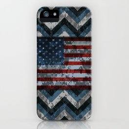 Blue Military Digital Camo Pattern with American Flag iPhone Case