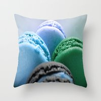 macaroons Throw Pillows featuring MACAROONS Blue Aqua Turquoise by Whimsy Romance & Fun