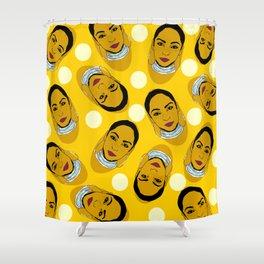 Yellow Ms. Adu Pattern Lover's Rock Shower Curtain