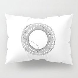 Tangled Monochromatic Black Circles on White Pillow Sham