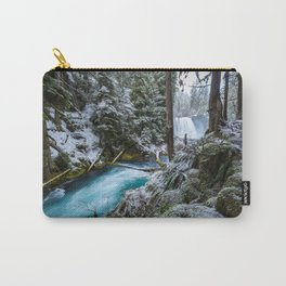 Blue River Waterfall Flows Through Snowy Forest Carry-All Pouch