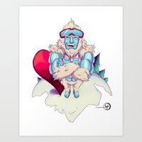 snowboard Art Prints featuring Snowboard Yeti by garciarts