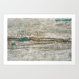 Rustic Wood Ages Gracefully - Beautiful Weathered Wooden Plank - knotty wood weathered turquoise pa Art Print