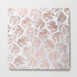Boho rose gold floral paisley mandala elephants illustration white marble pattern Metal Print