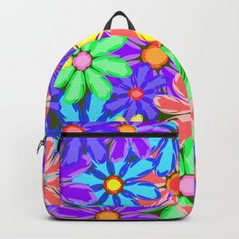 Flowers with red petals. Gentle background or pattern of flowers in bright colors. Backpack