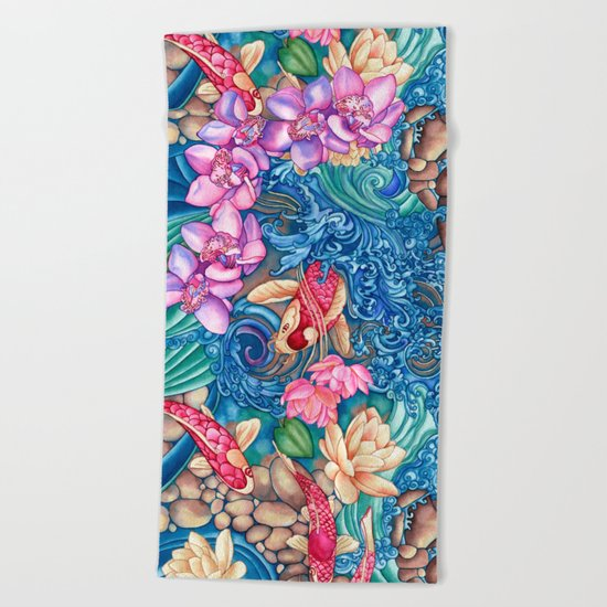 Orchid Splash Beach Towel