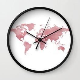 Rose Bloom World Map Wall Clock