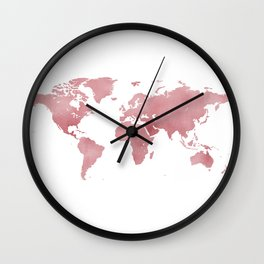 Rose Bloom World Map Wall Clock