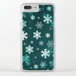 Dark Green Snowflakes Clear iPhone Case