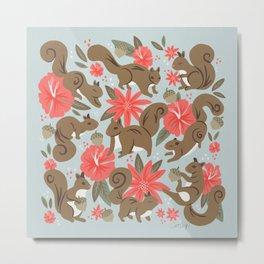 Squirrels & Blooms – Russet & Coral Metal Print