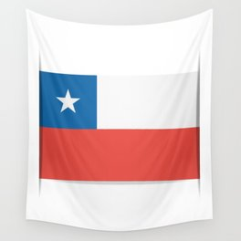 Flag of Chile.  The slit in the paper with shadows. Wall Tapestry