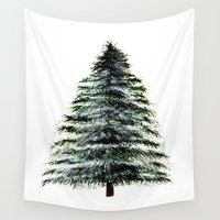 craftberrybush Wall Tapestries featuring Evergreen Tree Tapestry by craftberrybush