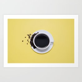 Black Cup of Coffee with Coffee Beans on Yellow Art Print
