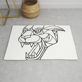 Panther Angry Head Mosaic Black and White Rug