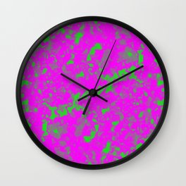 A interweaving cluster of pink bodies on a green background. Wall Clock
