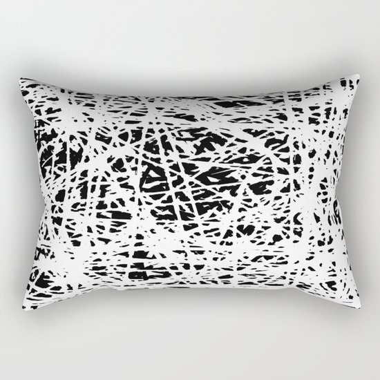 Whispers In the Dark - Black and White Abstract Rectangular Pillow