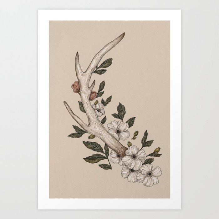 Floral Antler Kunstdrucke