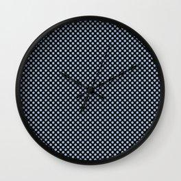 Black and Cerulean Polka Dots Wall Clock