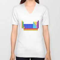 periodic table V-neck T-shirts featuring PERIODIC TABLE OF ELEMENTS by darlthedreamer