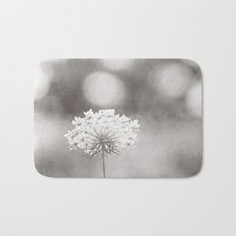 "Black and White Nature Photography, Queen Anne's Lace Grey Photo, Floral Print, ""Dreamy"" Bath Mat"