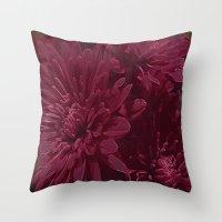 burgundy Throw Pillows featuring Burgundy Chrysanthemums by Judy Palkimas