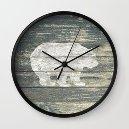 Rustic White Bear on Teal Wood Lodge Art A231c Wall Clock