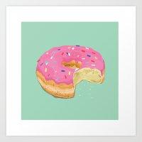 doughnut Art Prints featuring Doughnut by Zachary Kiernan