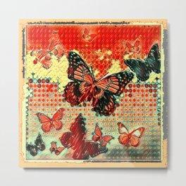 MODERN ART DESIGN of ABSTRACTED BUTTERFLIES Metal Print