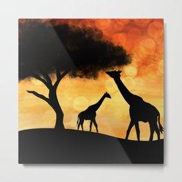 Sunset Giraffe Silhouette Metal Print