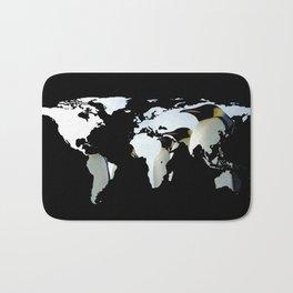 World Map Silhouette - Penguins Bath Mat
